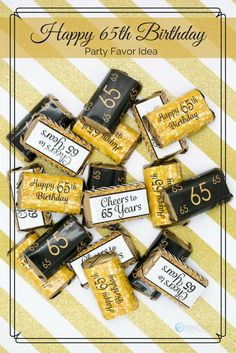Get your birthday party mini candy bar wrappers to make easy black and gold birthday favors to display on your candy buffet table or hand out in favor bags. 70th Birthday Party Ideas For Mom, 90th Birthday Parties, Happy 30th Birthday, Birthday Candy, Birthday Party Favors, 70 Birthday, Surprise Birthday, Themed Parties, Party