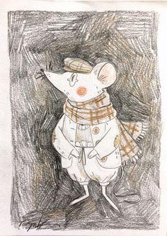 Mouse postcard sketch for a friend's Christmas letter 🐭❄️ He looks a bit like Bernard from The Rescuers, doesn't he? I love that film! Art And Illustration, Illustrations, Character Illustration, Kunst Inspo, Art Inspo, Pretty Art, Cute Art, Art Folder, Sad Art