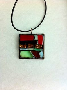 Stained glass abstract mosaic pendant by Albedomosaics on Etsy, $40.00