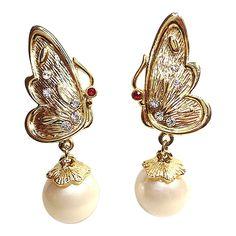 Pearl Drop Butterfly Earrings