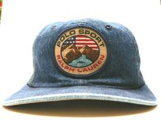 Vintage Ralph Lauren Polo Sport Patch Denim Cap Hat Casquette De Baseball  Ralph Lauren Pas Cher 3d13011bce2