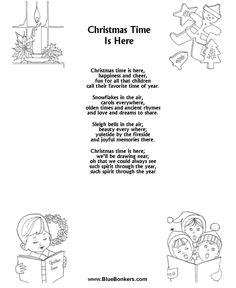 Printable Christmas Carol Lyrics sheet : Christmas Time is Here