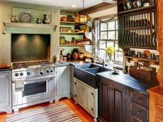 Sometimes simpler is better. In this case, dishes become part of the decor in a distressed-wood dish rack. But they're also close enough to make storage and use a delight.