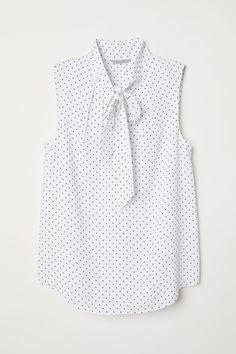Crêped Blouse - White black dotted - Ladies  0a53643cd2