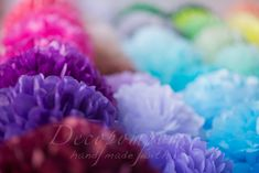 60 mixed size tissue Pompoms  pick your colors  by DECOPOMPOMS, $80.00