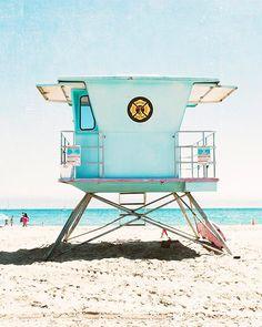 "California Beach Art Photography Vertical Beach Photograph Aqua Blue Turquoise Beach Decor Santa Cruz California ""Santa Cruz Summer"" (30.00 USD) by BreeMadden"