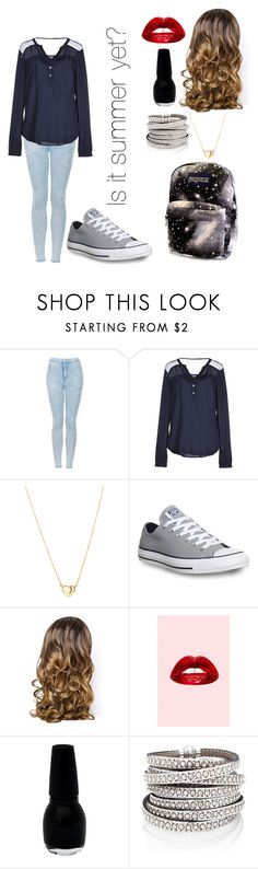 """""""School"""" by crystal-haigler ❤ liked on Polyvore featuring moda, Topshop, ONLY, Converse, Lipsy y Lime Crime"""