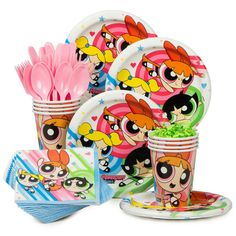 Check out Powerpuff Girls Standard Tableware Kit (Serves 8) | Tableware and décor for your next party from Birthday in a Box from Birthday In A Box