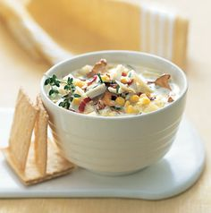 Crab-and-Corn Chowder with Bacon and Chanterelle Mushrooms: Recipe: bonappetit.com