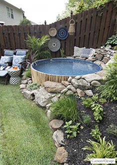 Our new stock tank swimming pool in our sloped yard - Pool - Garten ideen Pools For Small Yards, Backyard Ideas For Small Yards, Backyard Patio Designs, Small Backyard Patio, Garden Yard Ideas, Cheap Backyard Ideas, Small Backyard Design, Deck Ideas Sloped Yard, Porch Ideas