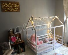 White and grey girls room interior, white bed, wood bed, bed house frame bed baby bed nursery crib, kids teepee, children bed, toddler bed children furniture, Montessori bed