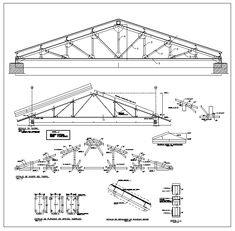 ★【Truss Structure Details - PlanMarketplace, your source for quality CAD files, Plans, and Details Truss Structure, Steel Structure Buildings, Steel Trusses, Roof Trusses, Stairs Architecture, Architecture Details, Architecture Diagrams, Architecture Portfolio, Metal Building Homes