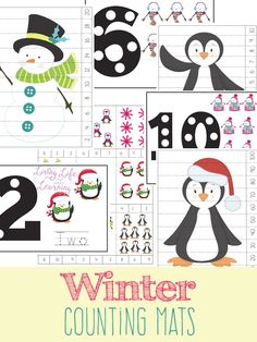 Need a fun way to count with your kids? Fun winter counting mat for toddlers and preschoolers, get counting with these fun winter counting printables and have fun with numbers.  #winter #counting #preschool #math