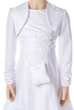 Federleichter Taftbolero von Weise      Offen getragen     Hingucker: Ärmelsaum elastisch gerafft     Farbe: Weiß