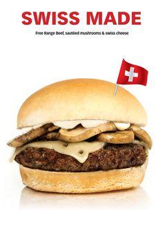 It's HERRRE !!! Sauteed Mushrooms, Swiss Cheese, Free Range, Hamburger, Toronto, Beef, Ethnic Recipes, Lovers, Food