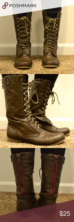 Brown Madden Girl combat boots Lace up combat boots. Red detail on back. Very comfortable. Madden Girl Shoes Combat & Moto Boots