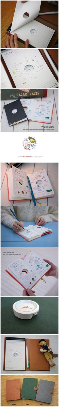 由韩国设计师Wonjune Song 设计的时钟笔记本(Watch Diary ),以钟表为中心、以小时 为单位,设计师将钟表记事薄划分成了12个区域,允许你在相应的时间区域内有条有理的规划好 的行程或写好备忘录。而钟表内的小时指针也换上了醒目的红色,它与旁边的备忘区域一一对应, 在恰当的时间内清晰明了的向你指明当下应该处理的待办事项,不落下任何一件重要事务。