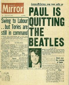 Daily Mirror 1970 - Paul McCartney leaves the Beatles