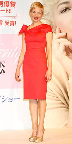 Promoting her film My Week with Marilyn in Tokyo, the actress opts for a sophisticated sheath with a daring asymmetrical neckline, but keeps it classic with simple pumps. And we found perfect matches under $100!