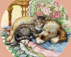 Leesa Whitten Cuddle Up Kittens And Puppies, Cute Cats And Kittens, Cute Puppies, Cute Small Animals, Cute Animal Illustration, Gatos Cats, Mundo Animal, Cat Drawing, Dog Art