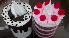 Tisue cover from felt, strawberry & chocolate cake caracter
