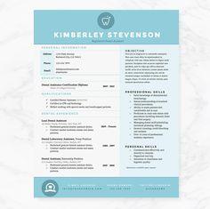 Crisp Blue Resume Template Pkg. by JannaLynnCreative on @creativemarket
