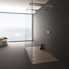 #Baños #Modernos #minimalistas estilo #cemento. #porcelanico #Core de formato 100x250 cm y color #Negro.