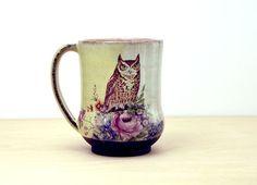 Handmade Pottery Mug, Retro Owl Mug, vintage flowers, coffee cup, contemporary folk art pottery, Gift for Mom