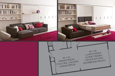 Space Saving Murphy Bed and Sofa - Resource Furniture Small Space Design, Small Space Living, Small Spaces, Space Saving Beds, Space Saving Furniture, Small House Furniture, Home Furniture, Convertible, Housing Works