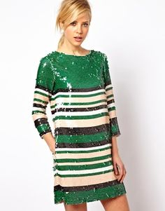 Is it too much to have 2 sequined dresses?  love this!!  ASOS Sequin Stripe Tee Dress