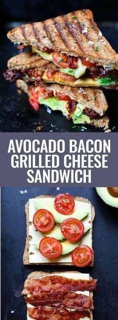 Recette de sandwich au fromage grillé au bacon et à l& - Carrousel de cuisine - La publicité. Sandwich au fromage grillé au bacon et à l& OMG, comme c& simpl - Grill Cheese Sandwich Recipes, Grilled Sandwich, Grilled Avocado, Bacon Avocado, Cheese Recipes, Toast Sandwich, Bacon Recipes, Bacon Sandwiches, Bacon Food