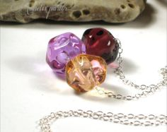 Lampwork glass bead and sterling silver necklace. Handmade