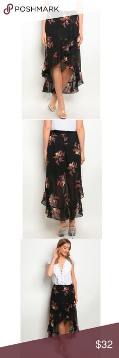 5f37dfbc9b Black Floral High Low Ruffle Skirt This skirt is made of 100% polyester, and