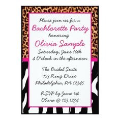 Animal Print Bachlorette Invitation