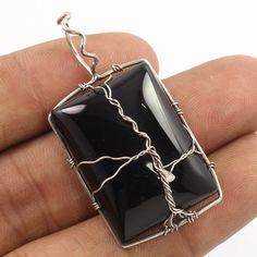 Designer 925 Sterling Silver Handcrafted Wire Pendant Natural BLACK ONYX Gems #Unbranded #Pendant