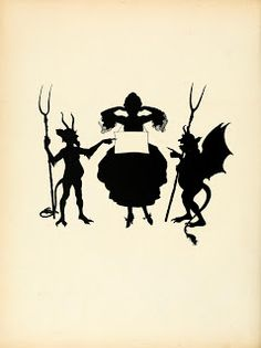 Vintage Ephemera: Halloween. French book silhouette illustration, woman, goblins, 1922