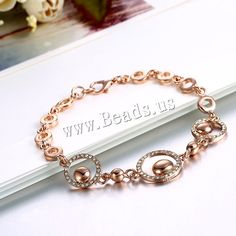 comeon® Jewelry Bracelet, Zinc Alloy, real rose gold plated, for woman & with rhinestone, nickel, lead & cadmium free,china wholesale jewelry beads