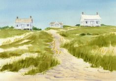 watercolor beach cottages to paint - Google Search