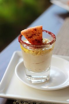 A shot glass of hummus with your own little pitta for dipping? Cute and delicious. #catering #entertaining #appetizers