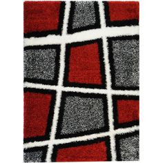 This stylish red and grey shag area rug is beautifully crafted from polypropylene for a lush and comfortable pile. The contemporary style and geometric pattern make this area rug the perfect addition to any home or office decor.