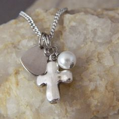 Simple Cross Pearl Necklace by WireNWhimsy on Etsy