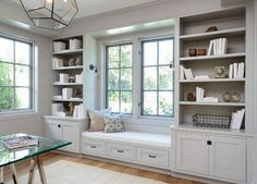 in window seat a functional wall built in for a home office designed by de. built in window seat a functional wall built in for a home office designed by de., built in window seat a functional wall built in for a home office designed by de. Home Office Design, House Design, Wall Design, Library Design, Library Ideas, Bed Design, Chair Design, Garden Design, Gray Interior