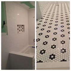 Subway tile walls with a flower mosaic floor #porcelain #ceramics #ceramic #tiled #tiles #tilework #trending #tileaddiction #bathroom #flower #floor #flooring #construction #hgtv #homedecor #homedepot #homedesign #lowes #subway #subwaytile #subwaytiles #interior #interiordesign #designer #work #worksmart #renovation by amtilingco