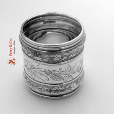 Butterfly Engraved Napkin Ring Sterling Silver Gorham 1880