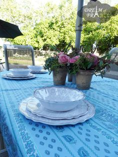 French Country Tablecloths Provence | ... Provence Tablecloth Lisa  Turquoise   French Table Linens
