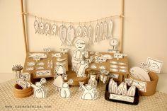 Fish Market  Photo print  Paper diorama por Caracarmina en Etsy, $20,00