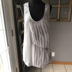 Gap Silver Gray Wispy Feather Strip Striped Sleeveless Satin Dress Blouse S Euc #Gap #Blouse #CareerDressOccasion