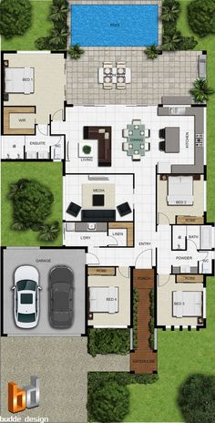 house plans one story ; house plans with wrap around porch ; house plans with in law suite ; house plans with basement Sims House Plans, House Layout Plans, New House Plans, Dream House Plans, Modern House Plans, Small House Plans, House Floor Plans, Single Storey House Plans, Bungalow Floor Plans