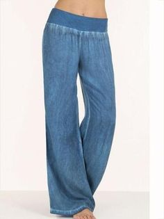Celmia 2018 Pantalon High Waist Palazzo Pants Women Waist Wide Leg Pants Denim Blue Jeans Women Elegant Trouser Plus Size Boyfriend Jeans Damen, Baggy Jeans Damen, Wide Leg Denim, Wide Leg Pants, Yoga Pants Loose, Loose Jeans, Washed Denim, Diy Pantalon, Adidas Hose