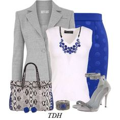 1. Grey blazer + white Zara deep V top + teal or blue pencil skirt